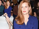 Amy Adams displays her slim legs in striking blue coat dress as she takes her seat on the front row at Milan Fashion Week