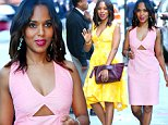 """NEW YORK, NY - SEPTEMBER 23:  Actress Kerry Washington is seen arriving at  """"Good Morning America'""""on September 23, 2014 in New York City.  (Photo by Raymond Hall/GC Images)"""