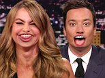23 September 2014 - Los Angeles - USA  **** STRICTLY NOT AVAILABLE FOR USA ***  Sofia Vergara and Jimmy Fallon do a 'Lip Flip' on the Tonight Show. The two took part in an hilarious segment entitled 'Lip Flip' in which one another's lips were superimposed on the other's face. When Fallon spoke - in a full on Vergara accent - the words appeared to come from Vergara, and vice versa. Vergara took the opportunity to pronounce, in Spanish, Fallon's desire to date Justin Timberlake, calling the singer Fallon's 'papacito rico' which means rich daddy. Meanwhile Fallon used the segment to butcher Vergara's strong accent and voice. Vergara was on the show to promote her new perfume called Sofia.   XPOSURE PHOTOS DOES NOT CLAIM ANY COPYRIGHT OR LICENSE IN THE ATTACHED MATERIAL. ANY DOWNLOADING FEES CHARGED BY XPOSURE ARE FOR XPOSURE'S SERVICES ONLY, AND DO NOT, NOR ARE THEY INTENDED TO, CONVEY TO THE USER ANY COPYRIGHT OR LICENSE IN THE MATERIAL. BY PUBLISHING THIS MATERIAL , THE USER EXPRESSLY