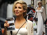 EXCLUSIVE Spanish actress Elsa Pataky enjoys a shopping trip with friends in Madrid. Pataky, who is the wife of actor Chris Hemsworth, looked glamorous in a white full length dress, 23 September 2014. 24 September 2014. Please byline: Vantagenews.co.uk