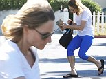 Jodie Foster in blue spandex leaving Bristol Farms. September, 23, 2014 X17online.com