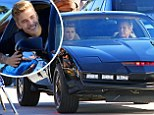 Just don't go drag racing! Justin Bieber and David Hasselhoff take a drive in Kitt from Knight Rider as they film in Venice Beach