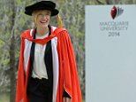Actor Cate Blanchett at Macquarie University where she addressed Macquarie University graduates, Sydney, Thursday, Sept. 25, 2014. Ms Blanchette was also honoured with a Doctor of Letters, honoris causa, from Macquarie University. ( AAP Image/Dean Lewins) NO ARCHIVING