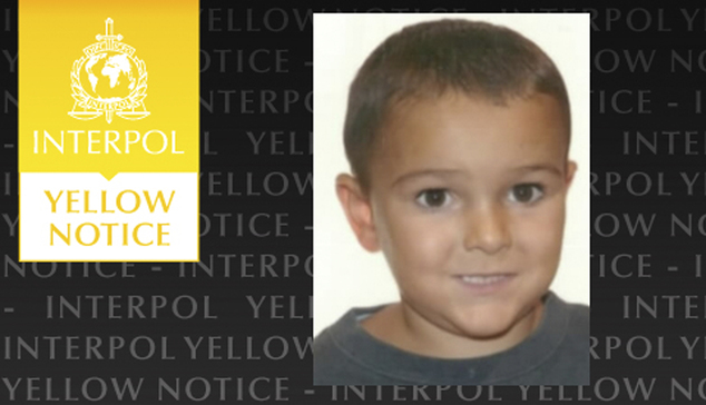 The Yellow Notice issued by the international police force Interpol, Friday Aug. 29, 2014, asking for help to locate the missing five-year old boy Ashya King...