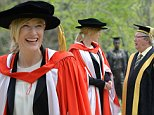 Actor Cate Blanchett with Macquarie University Chancellor Michael Egan where she addressed Macquarie University graduates, Sydney, Thursday, Sept. 25, 2014. Ms Blanchette was also honoured with a Doctor of Letters, honoris causa, from Macquarie University. (AAP Image/Dean Lewins) NO ARCHIVING