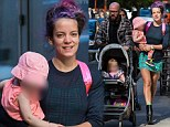 Make-up free Lily Allen enjoys relaxed day out in New York with daughters Ethel, two and Marnie, one and ex-boyfriend Seb Chew