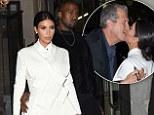 Kim Kardashian is a bit of all white in flirty miniskirt and heels... as she shares awkward kiss with photographer Mario Testino