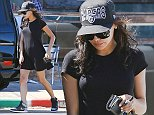 UK CLIENTS MUST CREDIT: AKM-GSI ONLY EXCLUSIVE: Naya Rivera ends a solo lunch at Spitz in Los Feliz. The lovely actress and newlywed to Ryan Dorsey, had lunch at the popular eatery and quickly hurried to her car afterwards in a black mini dress, black leather Nike sneaker high tops and a Raiders babseball cap.  Pictured: Naya Rivera Ref: SPL851208  250914   EXCLUSIVE Picture by: AKM-GSI