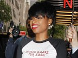 Wearing a 'Jesus Rocks My Soul' t-shirt and leather pants, Jennifer Hudson leaves NBC Studios in NYC following an appearance on 'Access Hollywood Live'.  Pictured: Jennifer Hudson Ref: SPL850461  250914   Picture by: Fortunata / Splash News  Splash News and Pictures Los Angeles: 310-821-2666 New York: 212-619-2666 London: 870-934-2666 photodesk@splashnews.com