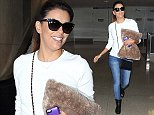 """Picture Shows: Eva Longoria  September 24, 2014    Former """"Desperate Housewives"""" star Eva Longoria lands on a flight from New York at LAX Airport in Los Angeles, California. Eva will soon have to make a huge decision, as both NBC and ABC are developing primetime series for her to star in. The NBC project, """"Telenovela,"""" would have Eva play a big telenovela actress while the ABC show would have her star as a home renovator addicted to problem solving. Longoria will likely executive produce whichever show she signs onto...    Non-Exclusive  UK RIGHTS ONLY    Pictures by : FameFlynet UK    2014  Tel : +44 (0)20 3551 5049  Email : info@fameflynet.uk.com"""
