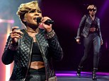 Mary J. Blige, 43, shows off her taut tummy in cropped top as she rocks an all leather look at iTunes Festival