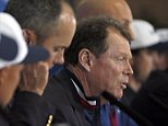 US team captain Tom Watson, right, speaks during a press conference after Europe won the 2014 Ryder Cup golf tournament at Gleneagles, Scotland, Sunday, Sept. 28, 2014. (AP Photo/Alastair Grant)