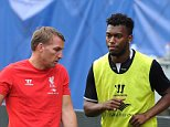 CHICAGO, IL - JULY 26:  (THE SUN OUT, THE SUN ON SUNDAY OUT) Brendan Rodgers manager of Liverpool talks with Daniel Sturridge during a training session before the first game in the Guinness International Champions Cup between Liverpool and Olympiacos at Soldier Field on July 26, 2014 in Chicago, Illinois.  (Photo by Andrew Powell/Liverpool FC via Getty Images)