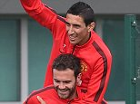 MANCHESTER, ENGLAND - SEPTEMBER 19:  (EXCLUSIVE COVERAGE) Juan Mata and Angel di Maria of Manchester United in action during a first team training session at Aon Training Complex on September 19, 2014 in Manchester, England.  (Photo by Matthew Peters/Man Utd via Getty Images)