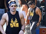 Savannah, GA - Channing Tatum, Matt Bomer, Joe Manganiello, Gabriel Iglesias, Kevin Nash and Adam Rodriguez get into character for 'Magic Mike XXL' while filming near a food truck on location. The much anticipated sequel will also feature new faces and it has been confirmed that Andie MacDowell, Elizabeth Banks, and Amber Heard will be joining the boys in the sequel.\nAKM-GSI       October 1, 2014\nTo License These Photos, Please Contact :\nSteve Ginsburg\n(310) 505-8447\n(323) 423-9397\nsteve@akmgsi.com\nsales@akmgsi.com\nor\nMaria Buda\n(917) 242-1505\nmbuda@akmgsi.com\nginsburgspalyinc@gmail.com