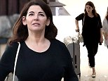 EXCLUSIVE: Nigella Lawson strolls along Sunset Blvd with a new suitcase in Los Angeles, California on the 27th September 2014.  Pictured: Nigella Lawson Ref: SPL855509  011014   EXCLUSIVE Picture by: Splash News  Splash News and Pictures Los Angeles: 310-821-2666 New York: 212-619-2666 London: 870-934-2666 photodesk@splashnews.com