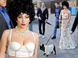 Mandatory Credit: Photo by IBL/REX (4144888e)  Lady Gaga and dog Asia  Lady Gaga out and about, Stockholm, Sweden - 01 Oct 2014  Lady Gaga and her French Bulldog Asia spent a day aboard the yacht M/Y Mercedita in Stockholm