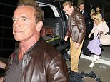 Please contact X17 before any use of these exclusive photos - x17@x17agency.com   EXCLUSIVE - Arnold Schwarzenegger and his new girlfriend returned from his home country of Austria, where she was introduced to his family.  The action star was in a brown leather jacket, tan pants and a skull on his left ring finger, on Thursday, October 1, 2014 X17online.com