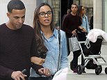 Marvin Humes and wife Rochelle push their daughter Alaia round Manchester city centre on Friday afternoon. Marvin is in Manchester for the filming of The Voice which he co presents with Emma Willis.\\n
