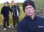 Mandatory Credit: Photo by Richard Young/REX (4161760s)  Hugh Grant and Damian Lewis  Alfred Dunhill Links Pro-Am Championship Golf, Kingsbarns, Scotland, Britain - 03 Oct 2014