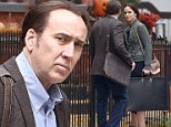 127170, EXCLUSIVE: Nicolas Cage and Sarah Wayne Callies seen filming scenes for their new thriller movie 'Pay The Ghost' in Toronto. Toronto, Canada - Sunday October 5, 2014. CANADA OUT Photograph: © Sean O'Neill, PacificCoastNews. Los Angeles Office: +1 310.822.0419 sales@pacificcoastnews.com FEE MUST BE AGREED PRIOR TO USAGE