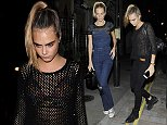 LONDON, ENGLAND - OCTOBER 03:  Poppy Delevingne and Cara Delevingne head to The Chiltern Firehouse in Marylebone on October 3, 2014 in London, England.  (Photo by Keith Hewitt/GC Images)