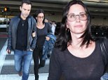 Courteney Cox and fiance, 38 year old musician Johnny McDaid back from NYC and touch down in Los Angeles. October 5, 2014  X17online.com