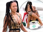 """EXCLUSIVE: Former Spice Girl and """"X Factor"""" judge Mel B puts her braided hair do up in pig tails and dons her favorite leopard print one piece for a spin on a jet ski with hubby Stephen Belafonte during her recent vacation in Mexico.  \n\nPictured: Mel B, Stephen Belafonte\nRef: SPL846672  190914   EXCLUSIVE\nPicture by: MOVI Inc./ Splash News\n\nSplash News and Pictures\nLos Angeles: 310-821-2666\nNew York: 212-619-2666\nLondon: 870-934-2666\nphotodesk@splashnews.com\n"""