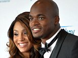In this July 20, 2014 photo, Minnesota Vikings running back Adrian Peterson poses with his wife Ashley Peterson during the Starkey Red Carpet Gala in St. Paul, Minn. Adrian Peterson has arrived at training camp with a different look: a ring on his finger. The star running back reported Thursday, July 24, 2014 with the rest of the Vikings to the Minnesota State University campus and confirmed he married his longtime girlfriend, Ashley Brown, just five days earlier. (AP Photo/The St. Paul Pioneer Press, Sherri LaRose-Chiglo)  MINNEAPOLIS STAR TRIBUNE OUT