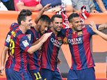 MADRID, SPAIN - OCTOBER 04:  FC Barcelona's players celebrate the second goal during the La Liga match between Rayo Vallecano de Madrid and FC Barcelona at Estadio Teresa Rivero on October 4, 2014 in Madrid, Spain.  (Photo by Miguel Ruiz/FC Barcelona via Getty Images)