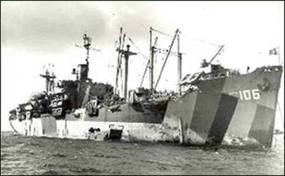 Hansford (APA-106) as she appears early in 1945