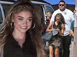 Picture Shows: Sarah Hyland  October 09, 2014.. .. Actress Sarah Hyland is spotted with her own personal private security escort while on the set 'Modern Family' filming in Venice, California. Sarah recently got a 3-year restraining order against her ex-boyfriend Matthew Prokop after accusing him of choking her and threatening her during their relationship, which ended in August. .. .. Non Exclusive.. UK RIGHTS ONLY .. .. Pictures by : FameFlynet UK © 2014.. Tel : +44 (0)20 3551 5049.. Email : info@fameflynet.uk.com