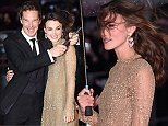 epa04437514 British actress/cast member Keira Knightley (R) and compatriot actor and co-star Benedict Cumberbatch (L) arrive for the premiere of 'The Imitation Game' at the 58th London Film Festival, in London, Britain, 08 October 2014. The festival runs from 08 to 19 October.  EPA/ANDY RAIN