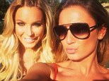 Bunny love: Sam Faiers tweeted this snap of herself and Hugh Hefner's wife Crystal as they hung out at the Playboy mansion on Thursday