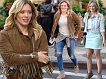 """NEW YORK, NY - OCTOBER 09:  Actress Hilary Duff is seen on the set of """"Younger"""" on October 9, 2014 in New York City.  (Photo by Raymond Hall/GC Images)"""