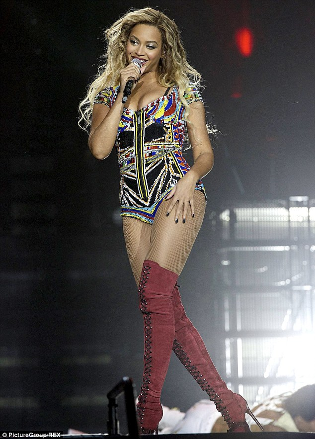 Singing superstar: Beyonce Knowles was pictured on stage performing at the O2 as a part of The Mrs. Carter Show World Tour