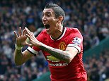 Angel Di Maria of Manchester United celebrates scoring the opening goal of the game