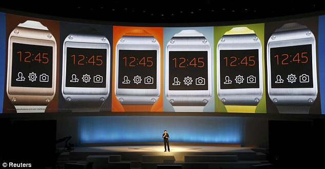 Samsung has gone back to the drawing board for its second-generation Galaxy Gear smartwatch after sales of the original model, pictured, were slow. Reports from Korea claim the Galaxy Gear 2 will replace the chunky flat screen of the original with a curved OLED display and is set to look 'totally different'