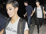 11 Oct 2014 - LONDON - UK *** EXCLUSIVE ALL ROUND PICTURES *** FRANKIE BRIDGE AND HUSBAND WAYNE BRIDGE PICTURED LEAVING STEAM AND RYE CLUB IN THE CITY AT 3AM AFTER FRANKIE'S TRIUMPH IN STRICTLY COME DANCING WHERE SHE ACHIEVED THE HIGHEST SCORE OF THE SEASON. AT ONE POINT SHE WAS LAUGHING AT WAYNE FOR HIDING BEHIND A SECURITY GUARD BYLINE MUST READ : XPOSUREPHOTOS.COM ***UK CLIENTS - PICTURES CONTAINING CHILDREN PLEASE PIXELATE FACE PRIOR TO PUBLICATION *** **UK CLIENTS MUST CALL PRIOR TO TV OR ONLINE USAGE PLEASE TELEPHONE 44 208 344 2007**