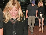 UK CLIENTS MUST CREDIT: AKM-GSI ONLY EXCLUSIVE: *SHOT ON 10/10/14* West Hollywood, CA - Hollywood couple Kirsten Dunst and Garrett Hedlund exit the Sunset Marquis Hotel as they get ready to hit the nightlife.  Pictured: Kirsten Dunst and Garrett Hedlund Ref: SPL864102  121014   EXCLUSIVE Picture by: AKM-GSI / Splash News
