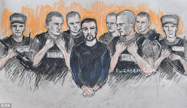 Court sketch: As one of Britain's most-protected suspects Cregan stood in the court today absolutely swamped by police, including some with machine guns