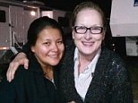 Misty Upham with Meryl Streep on the set of 'August: Osage County.' The Native American Actress has been missing for six days.