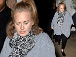 Mandatory Credit: Photo by Palace Lee/REX (4210285b)  Adele  Adele out and about, London, Britain - 17 Oct 2014  Adele at Harry's bar in Mayfair