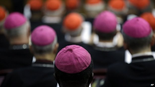 Bishops and Cardinals attend a morning session of a two-week synod on family issues at the Vatican, 13 October 2014