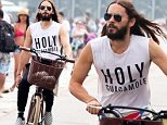 UK CLIENTS MUST CREDIT: AKM-GSI ONLY\nEXCLUSIVE: Rio de Janerio, Brazil - Jared Leto enjoys a solo bicycle ride along the shore in Rio de Janeiro. The actor/singer is in Brazil as part of his world tour with his band '30 Seconds to Mars.'\n\nPictured: Jared Leto\nRef: SPL869189  181014   EXCLUSIVE\nPicture by: AKM-GSI / Splash News\n\n