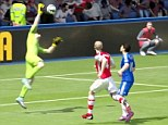 Costa lifts the ball over Wojciech Szczesny to wrap up three points against Arsenal at Stamford Bridge
