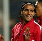 Radamel Falcao of Manchester United smiles during the warm up as he is named as a substitute