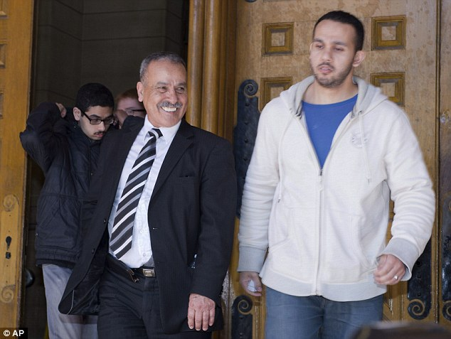 Family: Raed Jaser's father Mohammed Jaser, left, and another family member leave court in Toronto