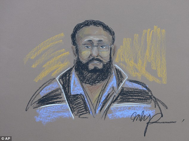 Accused: Esseghaier, 30, pictured in a courtroom sketch, and Raed Jaser, 35, were arrested and charged Monday in what the RCMP said was the first known al-Qaida terror plot in Canada