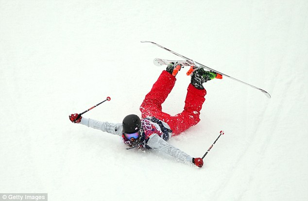 Mushy: American skier Devin Logan slides down a slope at the Rosa Khutor Extreme Park on Tuesday